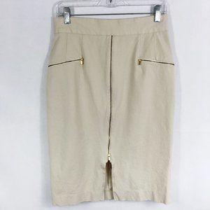 ! Banana Republic | Khaki Gold Zipper Pencil Skirt